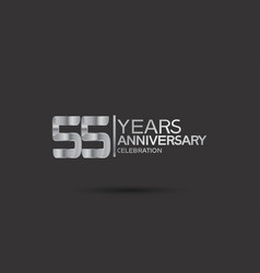 55 years anniversary logotype with silver color vector