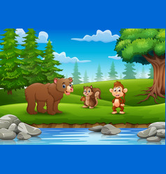 animals are enjoying nature by the river vector image