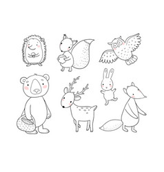 Animals of the forest set with cute cartoon bears vector