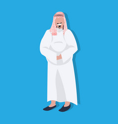 arabic thick business man icon wearing traditional vector image