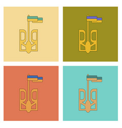 Assembly flat icons emblem of ukraine vector