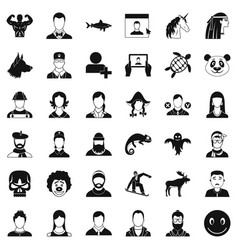 avatar icons set simple style vector image