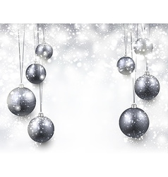 Background with silver christmas balls vector