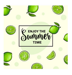 Banner postcard design with limes background and vector