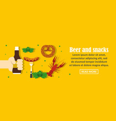Beer and snacks banner horizontal concept vector