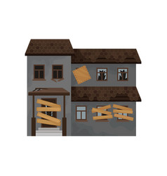 Big house with destroyed roof boarded-up windows vector