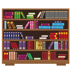 big library bookcase with colorful books vector image