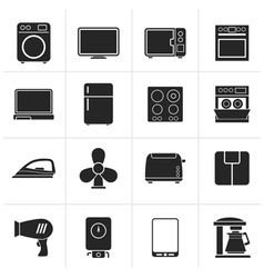 Black home appliance icons vector