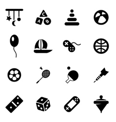 black toys icon set vector image
