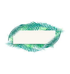 blank banner with palm leaves and space for header vector image