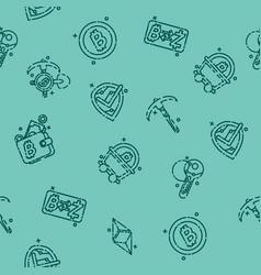 blockchain icons pattern vector image