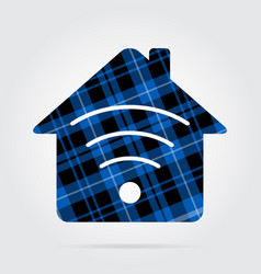 Blue black tartan icon - house with signal vector