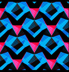 Blue pink and black polygons on a dark background vector