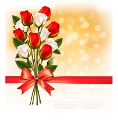 Bouquet of red and white roses with a red ribbon vector