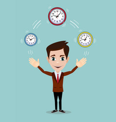 businessman plays with time symbolizing time vector image