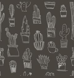 cacti handdrawn sketch seamless pattern pattern vector image