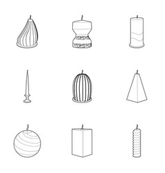 candle for the holiday icons set outline style vector image vector image