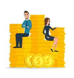 Cartoon businessman and businesswoman sitting on vector image