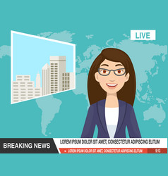 Cartoon of beautiful reporter are ready announce vector