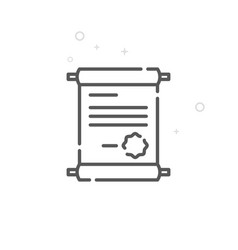Certificate with seal line icon symbol pictogram vector