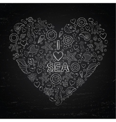 Chalk board I love Sea in the form of heart vector