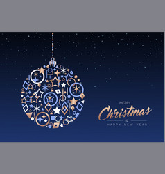christmas and new year ball made of copper icons vector image