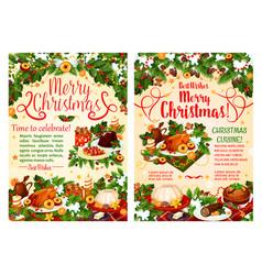 Christmas dinner festive banner of winter holidays vector