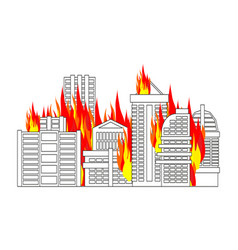 city fire town on flames buildings burn vector image