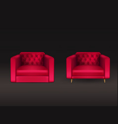 club chairs red leather realistic vector image