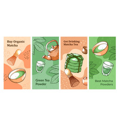 collection vertical matcha tea banner vector image