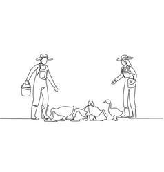 continuous one line drawing couple farmer vector image