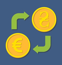 Currency exchange Euro and Hryvnia vector image