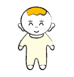 Cute baby boy with hairstyle and clothes vector