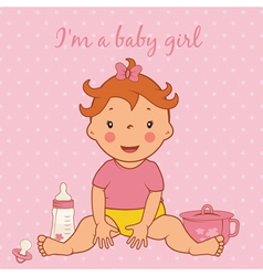 Cute baby girl vector