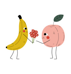 Cute banana giving bouquet flowers to peach vector
