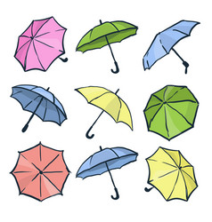 cute colorful autumn set of umbrellas different vector image