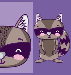 cute raccoon animal cartoon vector image