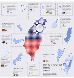 Dot And Flag Map Of Taiwan Republic Of China vector