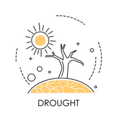 Drought isolated icon dry earth and tree desert vector