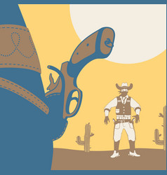 duel cowboy wild west style vector image