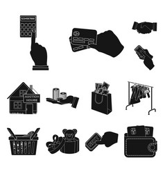 e-commerce and business black icons in set vector image