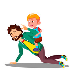 father rolling on his back a small son vector image
