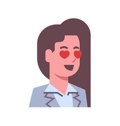 Female happy smiling heart shape eyes emotion icon vector
