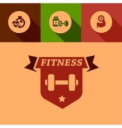 Flat fitness design elements vector