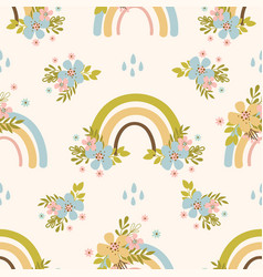 floral rainbow hand drawn seamless pattern vector image