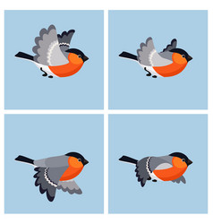 flying bullfinch male animation sprite sheet vector image