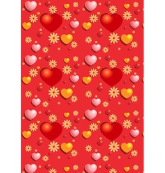 Gentle red hearts on the red seamless background vector image