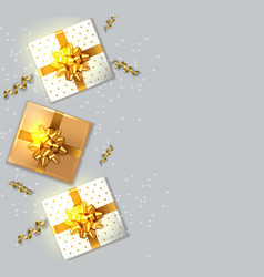gift boxes with golden bow realistic vector image