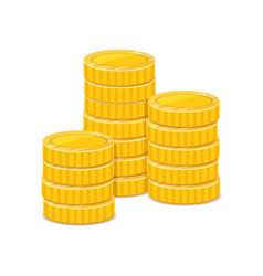 Golden coins treasure metal money stacks vector