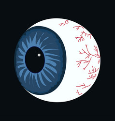 halloween eyeball on black vector image